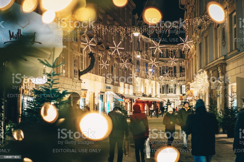 Graz City Streets Advent Christmas Decorations By Night Shot Between Christmas Lights Stock Photo Download Image Now Istock
