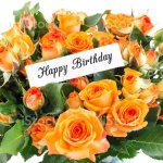 Happy Birthday Card With Bouquet Of Orange Roses Stock Photo Download Image Now Istock