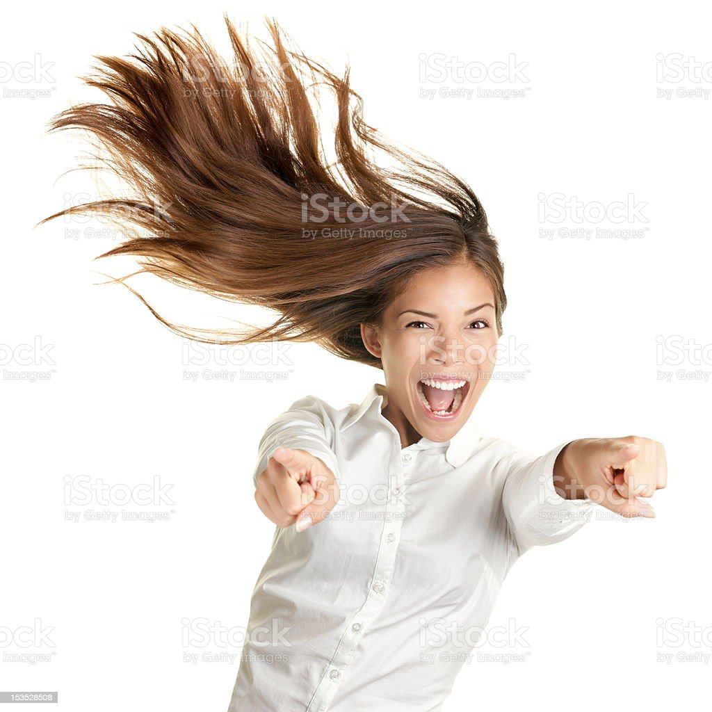 Happy Crazy Excited Woman Screaming Stock Photo - Download ...