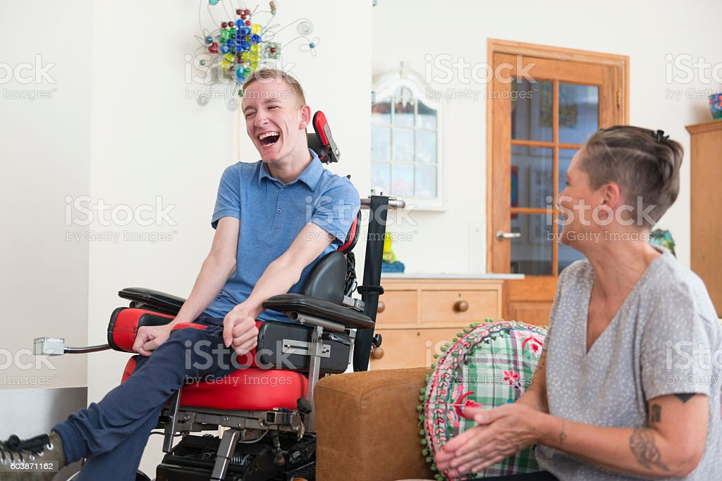 Happy Young Als Patient With His Mom Stock Photo ...