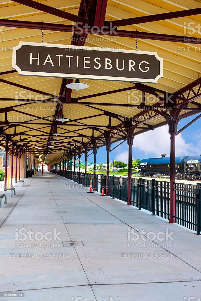 Hattiesburg Ms Railway Station Platform And Sign Stock
