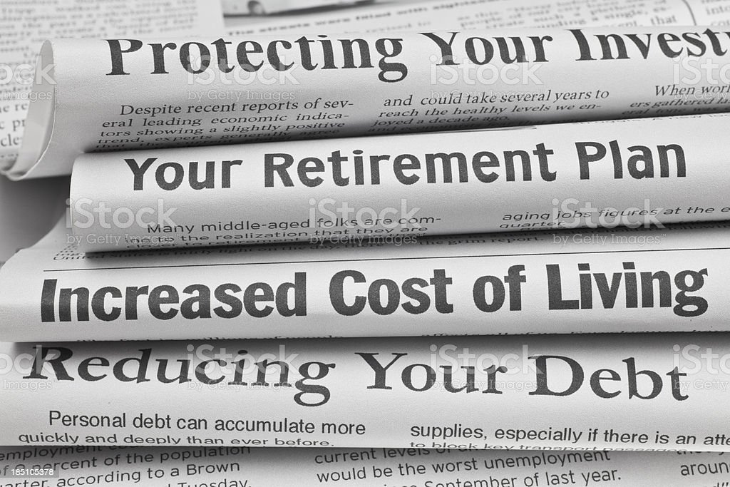 Headlines About Personal Finance Issues Stock Photo More