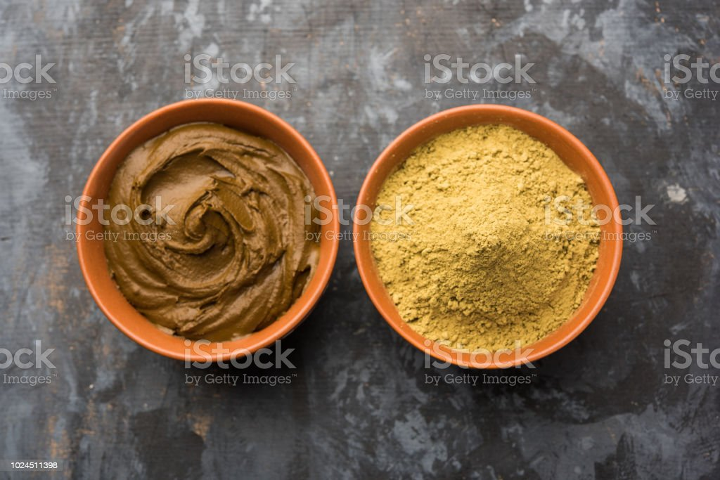 Henna Mehandi Powder And Paste Prepared For Hair Colouring ...