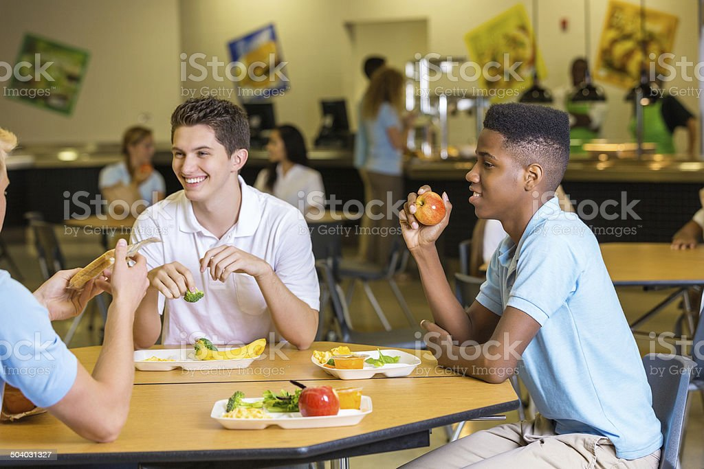 High School Boys Eating Lunch Together In Cafeteria Lunchroom Stock Photo - Download Image Now - iStock