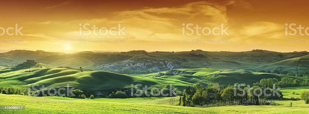 idyllic landscape green fields