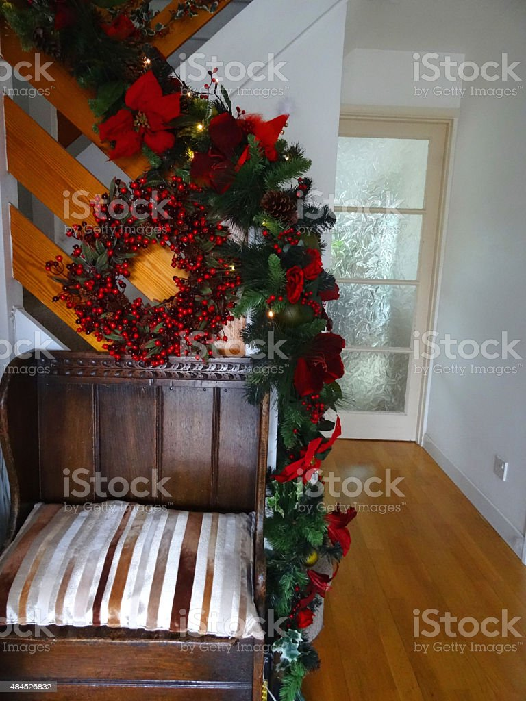 Image Of Wooden Stair Bannister With Christmas Decorations Garland Wreath Stock Photo Download Image Now Istock
