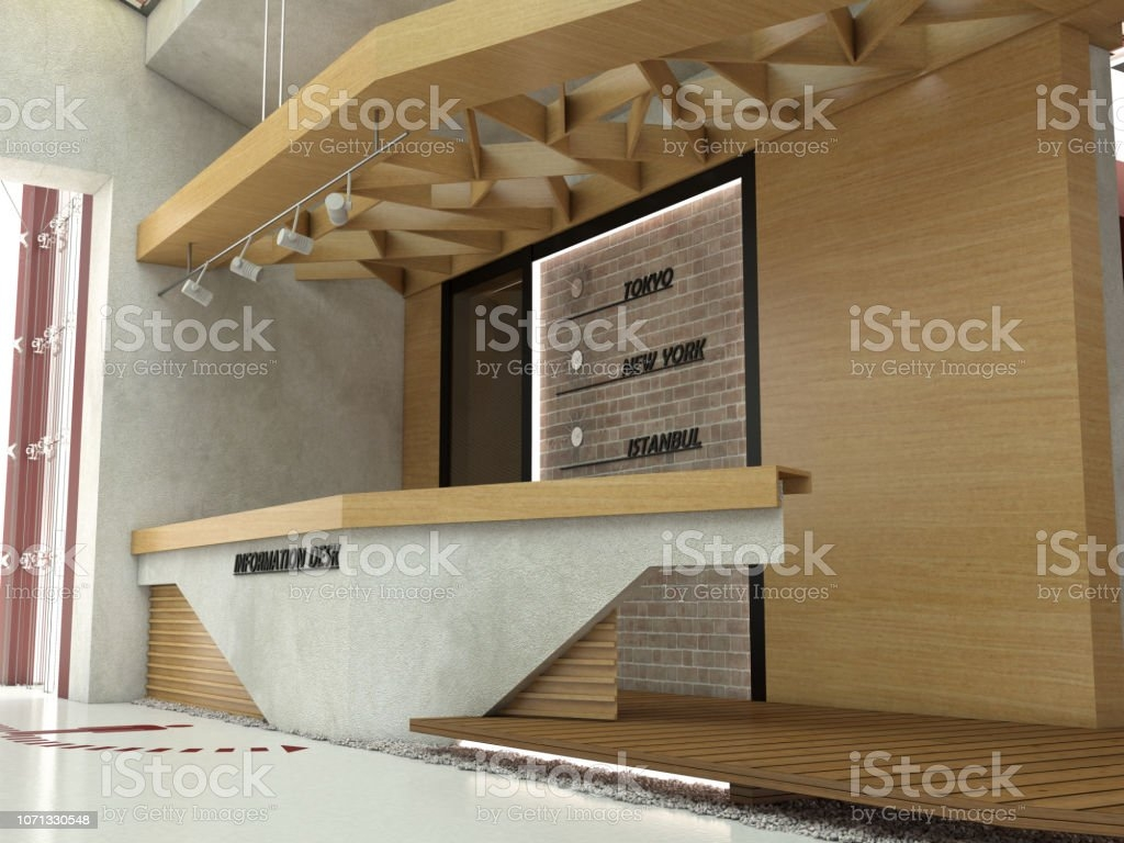 Information Desk And Lobby Interior Design Stock Photo Download   Stairs Design In Lobby   Entrance Lobby   Foyer   Architectural   Circle Elevator Design Home   White