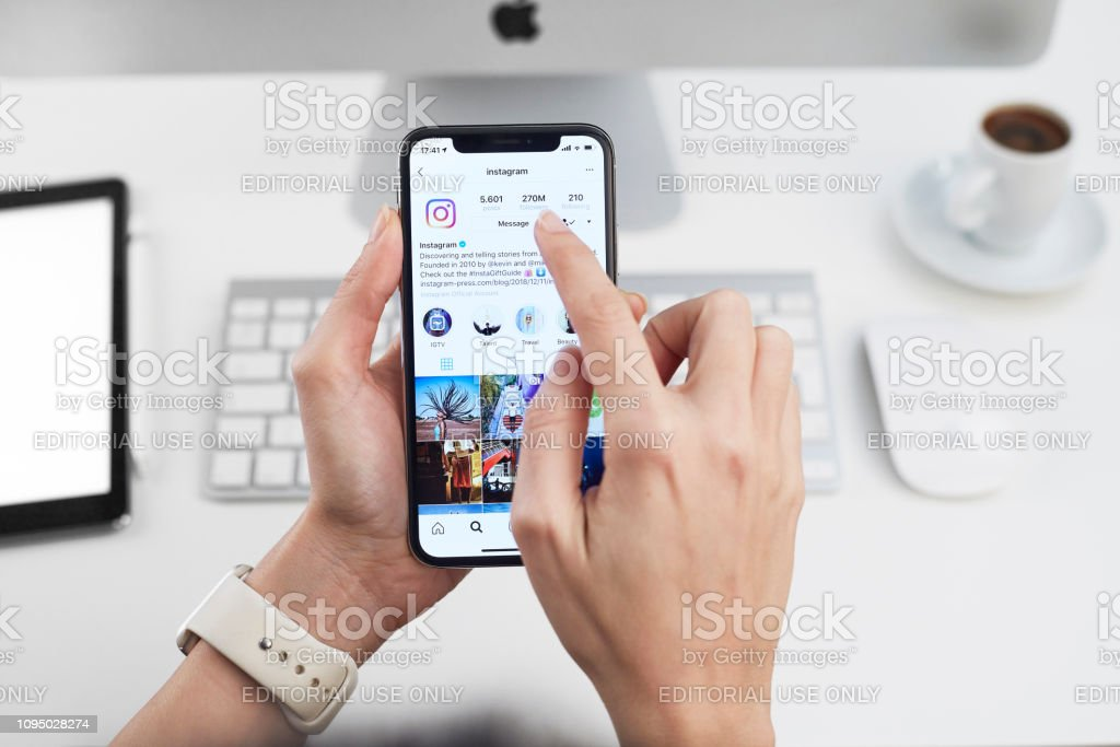 Instagram Application On Apple Iphone X Stock Photo - Download Image Now - iStock