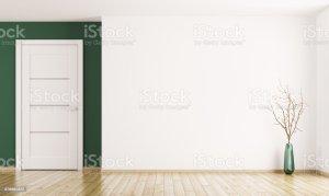 empty corner walls floor background interior 3d parquet wooden yellow door