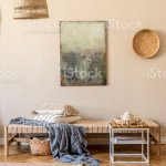 Interior Design Of Oriental Style Living Room With Modern Chaise Longue Furniture Rattan Decoration Bamboo Shelf And Elegant Personal Accessories Mock Up Paintings On The Beige Wall Template Stock Photo Download