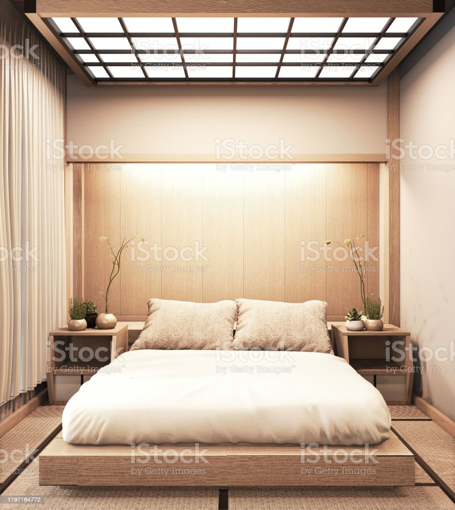 Interior Luxury Modern Japanese Style Bedroom Mock Up Designing The Most Beautiful 3d Rendering Stock Photo Download Image Now Istock