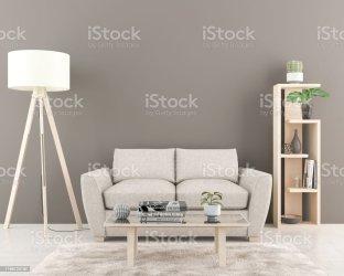 Interior Con Pared Gris Oscuro Vacía En El Fondo Foto de stock y más banco de imágenes de A la moda iStock