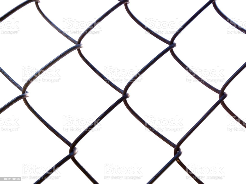 isolated dark colored chainlink fence overlay on white background with slight corrosion and rust and natural sun lighting coming from upper left stock photo download image now istock