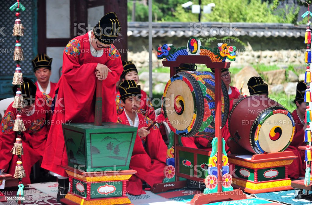 Jeonju Korean Traditional Music Group Playing The Ancestral Ritual Music Stock Photo - Download Image Now - iStock