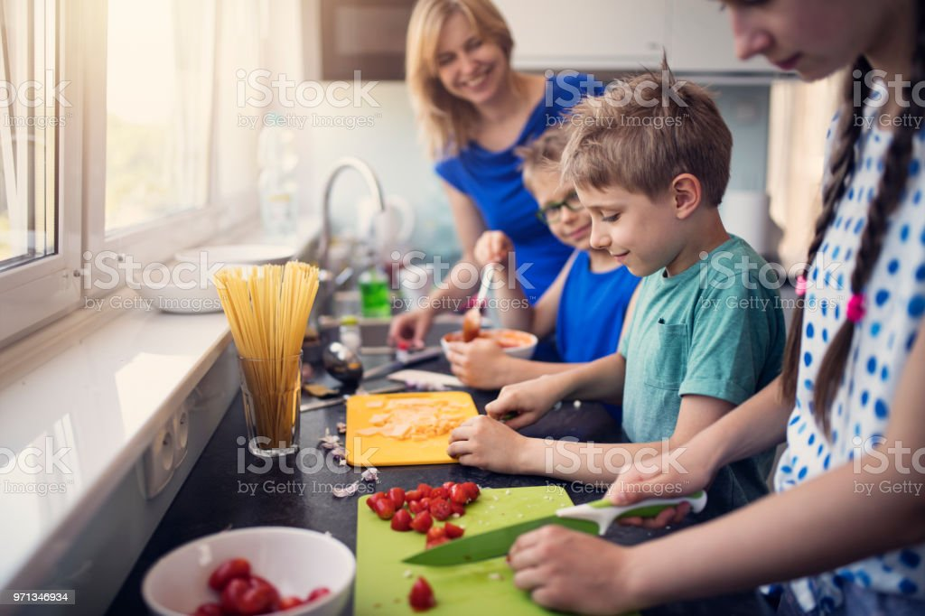 Kids Preparing Lunch Stock Photo - Download Image Now - iStock