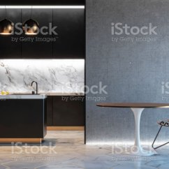 Black Kitchen Table And Chairs How Much Does An Outdoor Cost 廚房黑色簡約內帶桌椅燈大理石地板混凝土牆3d 渲染插圖類比照片檔及更多 廚房黑色簡約內帶桌椅燈大理石地板混凝土牆 3d 渲染插圖