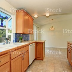 Kitchen Trim Rubber Mats Interior Maple Cabinets And Back Splash Stock Photo Royalty Free