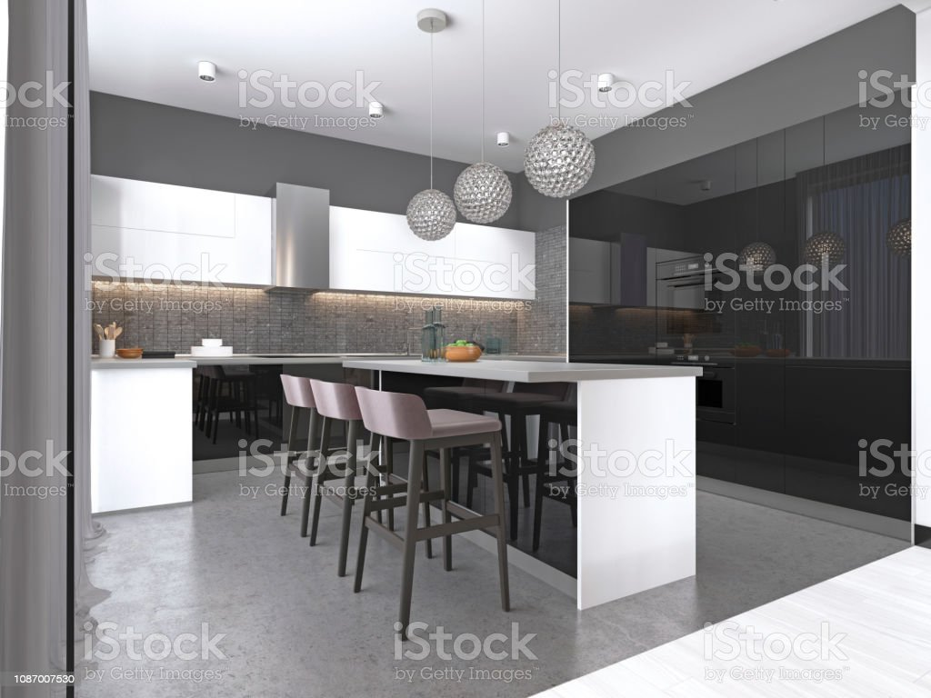 Kitchen Island With Three Bar Stools And Round Glass Chandeliers In Contemporary Black And White Kitchen Stock Photo Download Image Now Istock