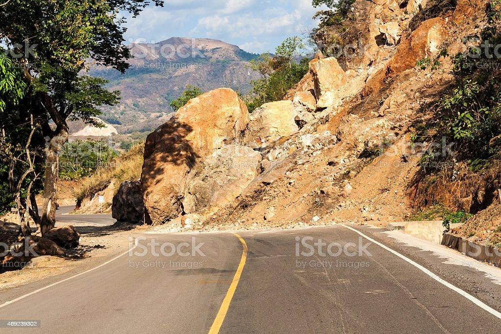 Landslide In The Roadway In El Salvador Stock Photo & More