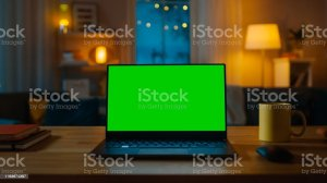 screen chroma key computer desk laptop living warm stands showing evening cozy lights verde mesa banco imagens