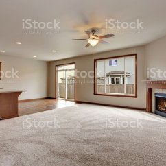 Living Room With Carpet Old Ideas Large Empty Interior Floor And Fireplace Stock Image