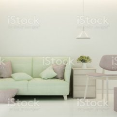 Minimal Sofa Design 3pc Recliner Set Lemon Color And Pink Chair In Living Room Bright Tone House Or Apartment Interior Simple 3d Rendering