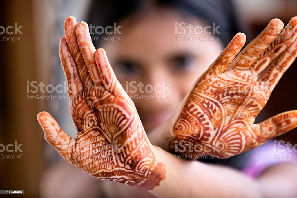 Little Girl Displaying Henna Tattoo Also Called Mehendi ...