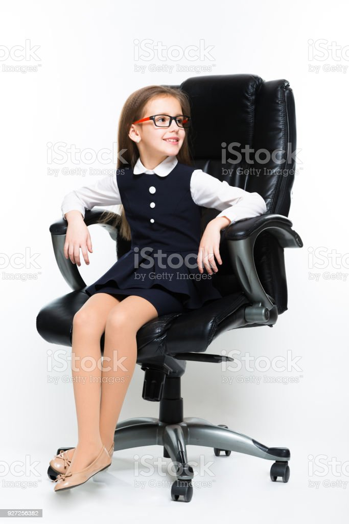 little girl chairs dorm room bed bath and beyond sitting in chair dressed as a businesswoman stock photo royalty free