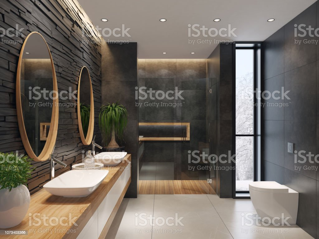 photo libre de droit de luxueuse salle de bains minimaliste avec mur de pierre ardoise noire banque d images et plus d images libres de droit de amonceler istock