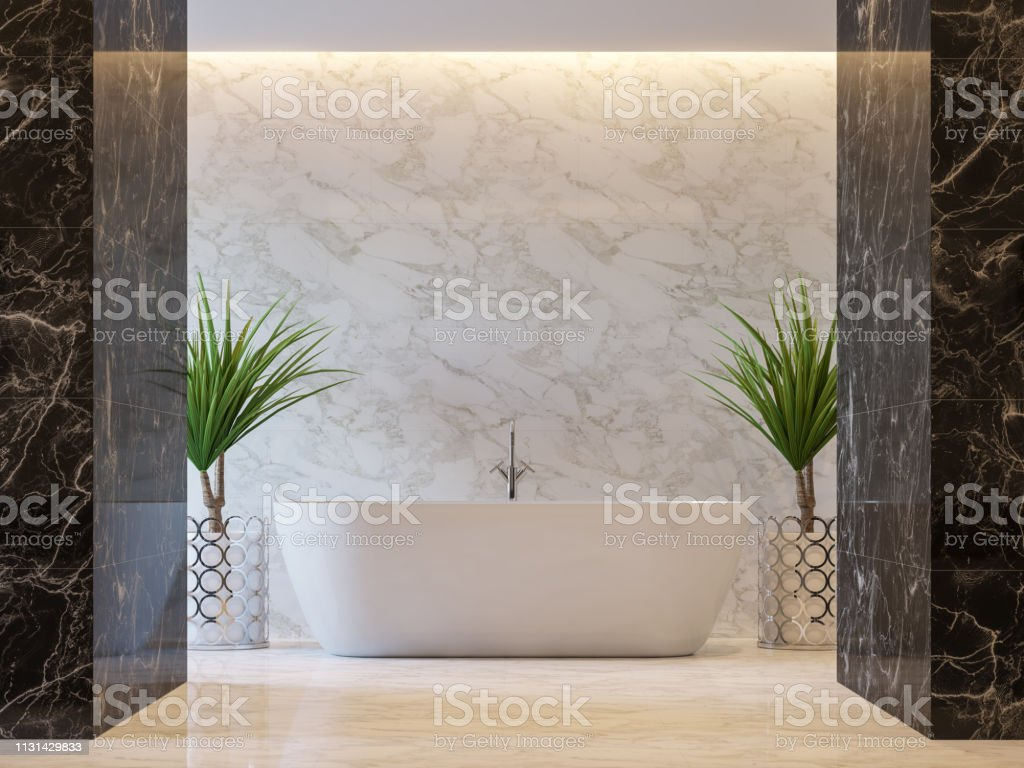 luxury bathroom with black and white marble tile 3d render stock photo download image now istock