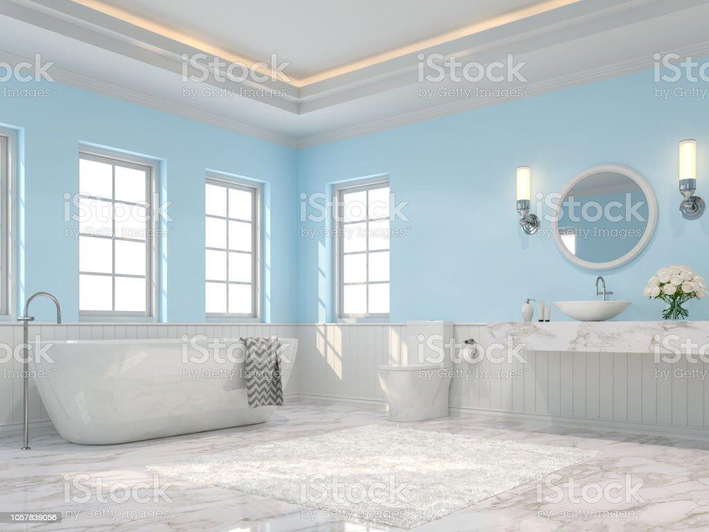 photo libre de droit de salle de bain luxueuse avec rendu 3d mur bleu clair banque d images et plus d images libres de droit de a la mode istock