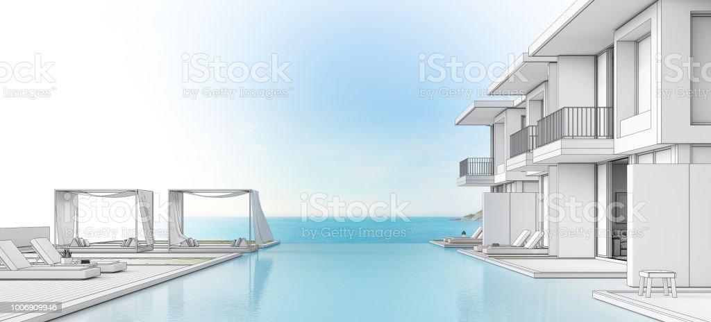 beach house kitchen backsplash ideas wear 豪華海濱房帶海景泳池和陽臺在現代設計躺椅在木地板在度假屋或酒店3d 豪華海濱房 帶海景泳池和陽臺在現代設計 躺椅在木