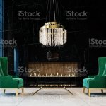 Luxury Black Marble Mockup Wall With Expensive Green Armchairs Glass Chandelier And Modern Builtin Fireplace Living Room 3d Render 3d Illustration Stock Photo Download Image Now Istock