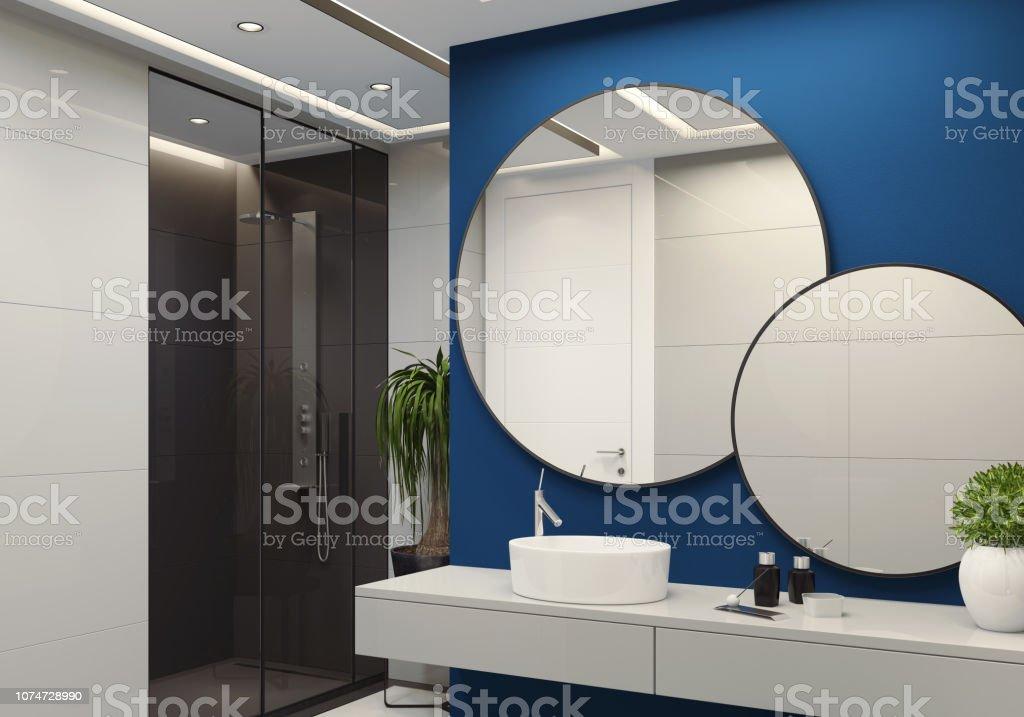 https www istockphoto com fr photo salle de bains minimaliste de luxe avec mur bleu royal et grands carreaux blanches gm1074728990 287691622