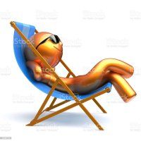Man Chilling Beach Deck Chair Smiley Relaxing Sunglasses ...