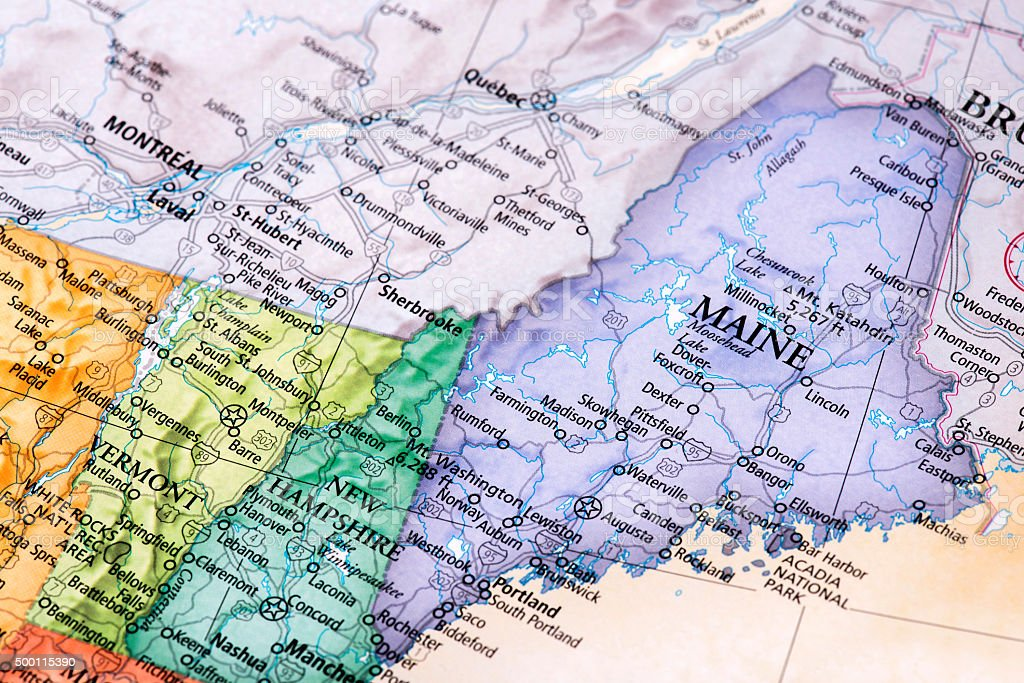 Large detailed tourist map of new hampshire with cities and towns. Map Of Maine New Hampshire Vermont States Stock Photo Download Image Now Istock