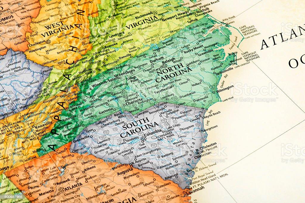 Map Of South Carolina And North Carolina States Stock