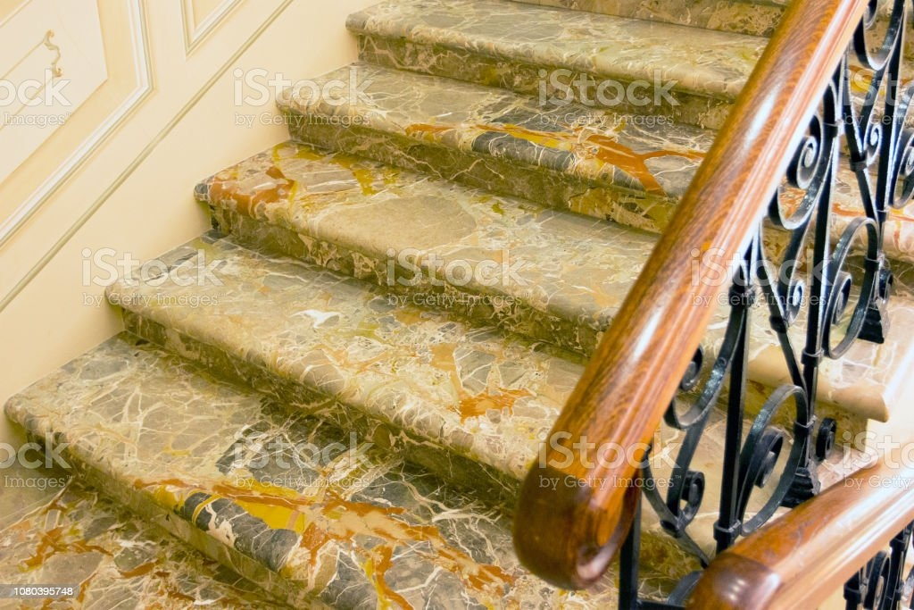 Marble Staircase With Wroughtiron Railing And Wooden Handrail   Metal Railing With Wood Handrail   Horizontal Metal   Stair Railings   Flat Bar   Stair Parts   Wrought Iron Balusters