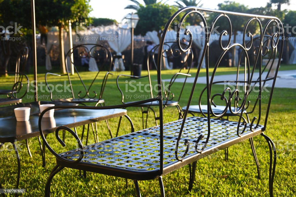 metal patio furniture in decorated yard stock photo download image now istock