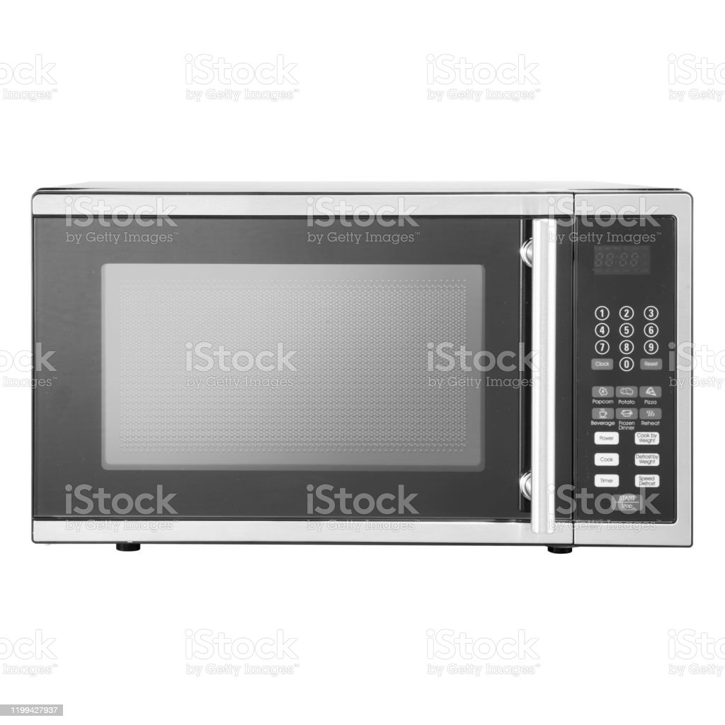 microwave oven isolated on white background front view of stainless steel overtherange microwave oven household kitchen and domestic major appliances home innovation stock photo download image now istock