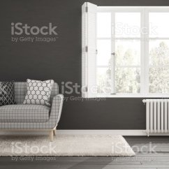 Living Room Big Window Indoor Plants Ideas Minimalist Simple White And Gray With Scandinavian Classic Interior Design Stock Image