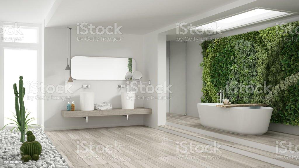 https www istockphoto com fr photo salle de bain blanc minimaliste avec jardin vertical et succulent plancher en bois et gm652684824 118490563