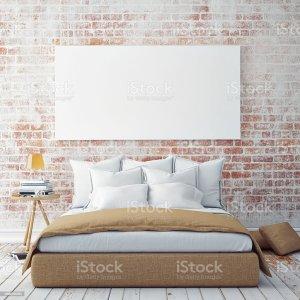 bedroom wall mock blank poster banner background illustration royalty