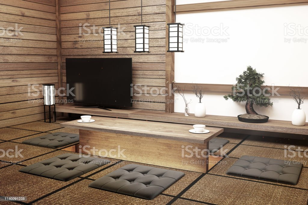 Mock Up Modern Living Room Japanese Style 3d Rendering Stock Photo Download Image Now Istock