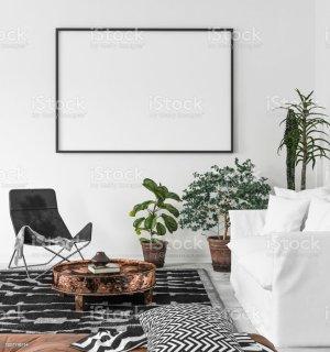 living boho background frame poster mock scandi mockup render interior wall 3d dreamstime apartment