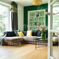 Living Room Big Window Sofa Bed Sets Modern And Cozy With Corduroy Pillows To The Garden Bright Sunny Space Stock Image