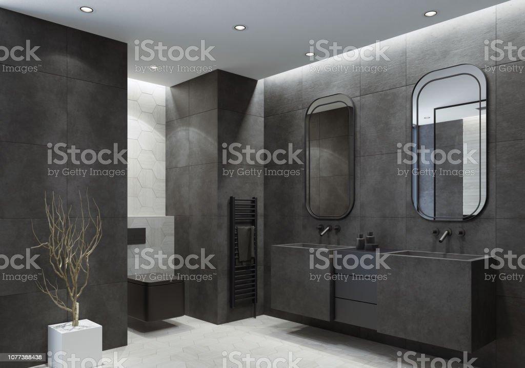modern bathroom with dark gray concrete tiles stock photo download image now istock