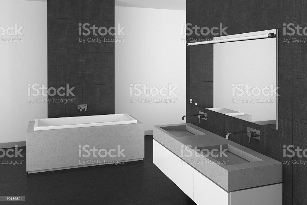 https www istockphoto com fr photo salle de bains moderne avec sol en carrelage gris fonc c3 a9 gm470186824 62037200