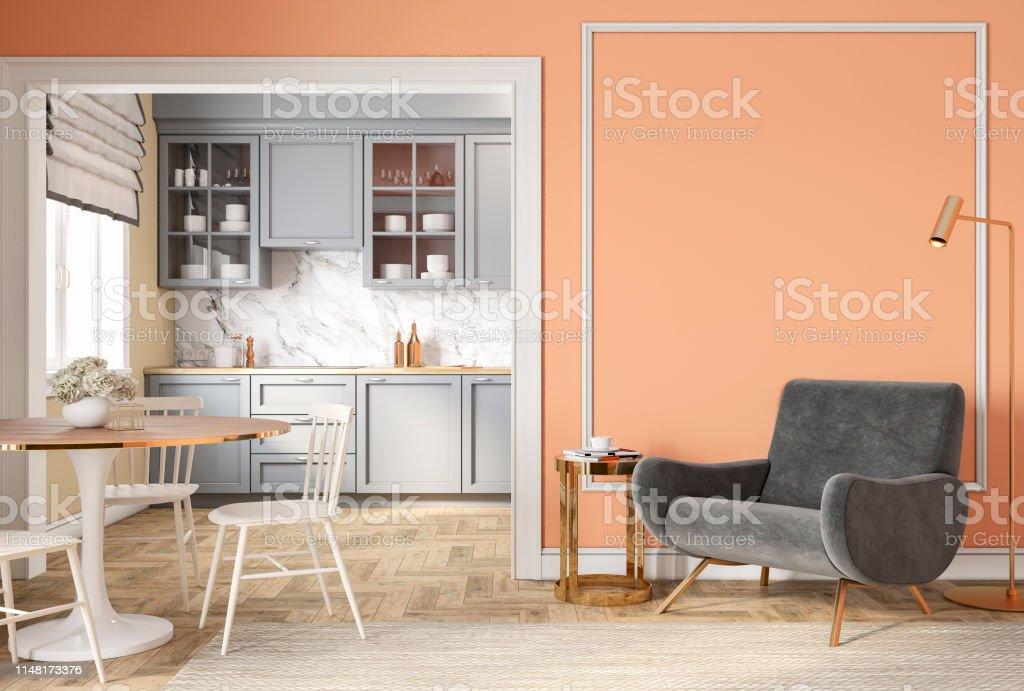 https www istockphoto com fr photo moderne classique p c3 aache beige int c3 a9rieur avec chaise longue fauteuil cuisine table c3 a0 gm1148173376 309987536