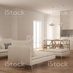 Pouf In Living Room Decorating Ideas Uk 2017 Modern Clean With Kitchen And Dining Table Sofa Chaise Longue Minimal White Interior Design Stock Image